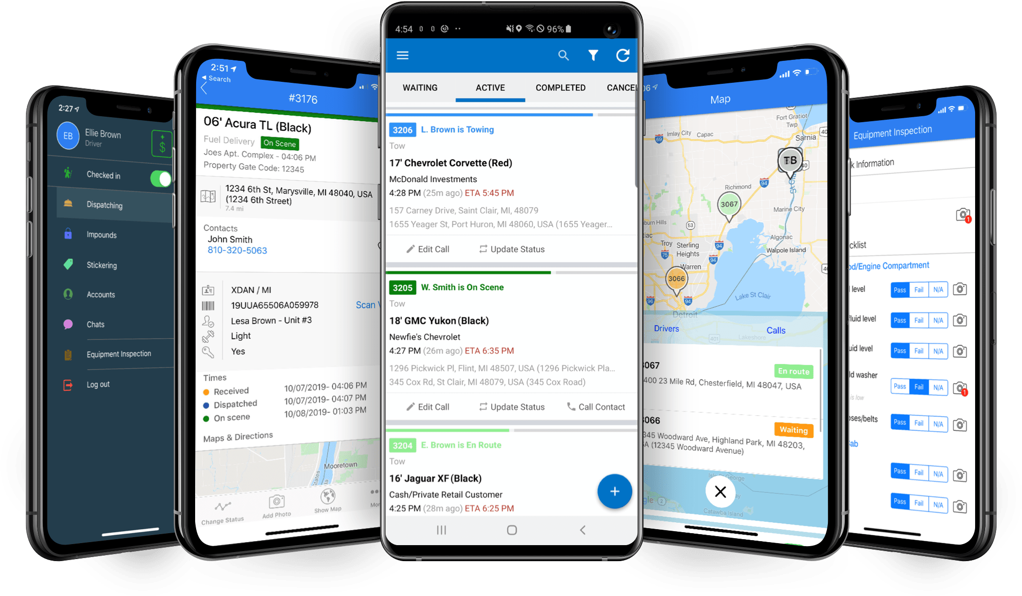 Towbook mobile app on mobile devices